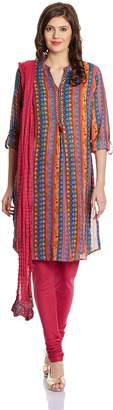 Biba Women's Viscose Cotton Straight Tunic Band Collar Full Sleeve