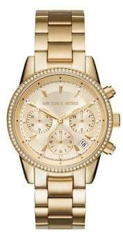 Michael Kors Ritz Studded Yellow Goldtone Stainless Steel Chronograph Bracelet Watch MK6356