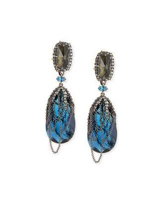 Alexis Bittar Draped Chain Crystal Clip-On Earrings, Blue $172 thestylecure.com