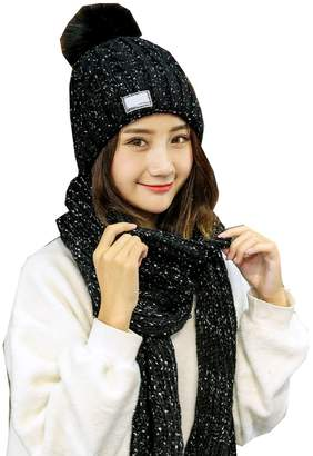 21c41b8d9 e-youth 2-Pieces Winter Hat Scarf Set, Warm Knit Beanie Hat and