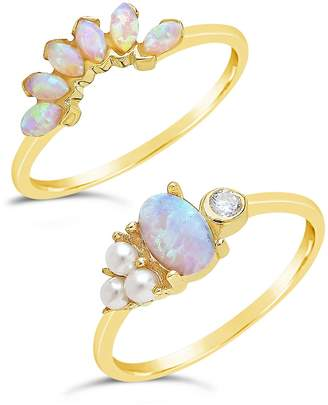 Sterling Forever 14K Gold Vermeil Marquise Cut Created Opal and Bezel CZ Stackable Rings