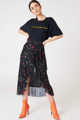 Na Kd Trend Mesh Overlap Maxi Skirt Black Flower
