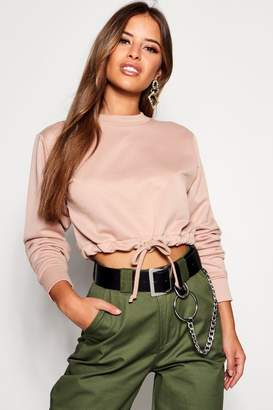 boohoo Petite Draw Cord Detail Cropped Sweat Top