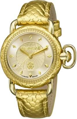 Roberto Cavalli Women's RV1L017L0036 Gold IP Stainless Steel Leather Wristwatch