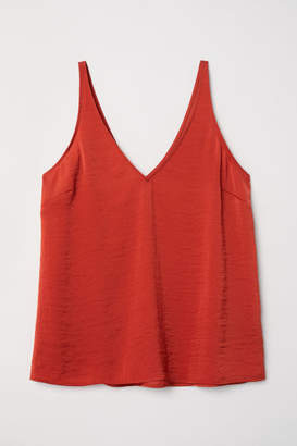 H&M V-neck Satin Camisole Top - Red