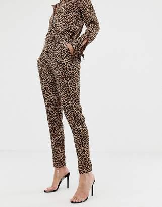 NA-KD straight leg pants in leopard print