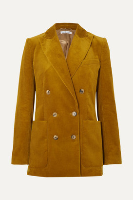 Bella Freud Bianca Double-breasted Cotton-corduroy Blazer - Mustard