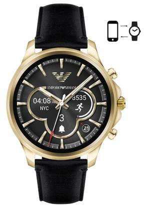 Emporio Armani Touchscreen Leather Strap Smartwatch, 46mm