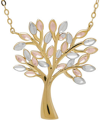 FINE JEWELRY 10K Tri-Color Gold Family Tree Pendant Necklace