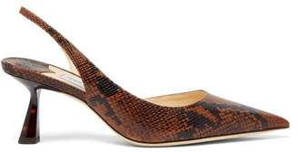 Jimmy Choo Fetto 65 Python Effect Leather Slingback Pumps - Womens - Tan Multi
