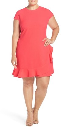 Eliza J Ruffle Hem Crepe Shift Dress $148 thestylecure.com