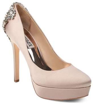 Badgley Mischka Women's Viola Almond Toe Embellished Satin Platform High-Heel Pumps