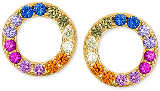 ded32ee1bf9917 Giani Bernini Cubic Zirconia Rainbow Circle Stud Earrings in 18k Gold-Plated  Sterling Silver