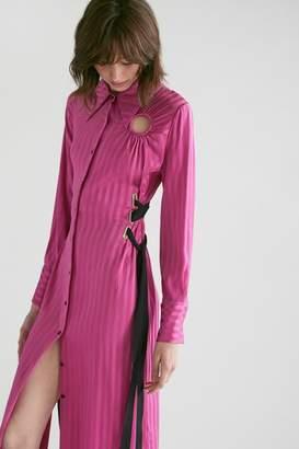 Yigal Azrouel Bias Stripe Silk Shirt Dress