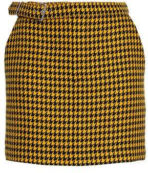 McQ Belted Houndstooth Wool Mini Skirt