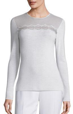 Elie Tahari Janice Lace Inset Merino Wool Sweater $268 thestylecure.com