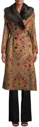 Derek Lam Women's Fox Fur-Trimmed Double-Breasted Trench Coat