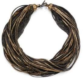Brunello Cucinelli Metallic Leather Beaded Statement Necklace
