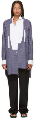 Loewe Blue and White Long Asymmetric Stripe Shirt