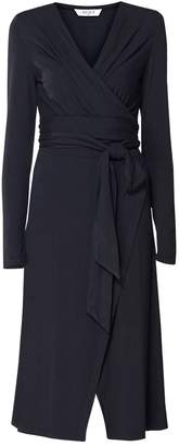 PAISIE - Pleated Wrap Dress With Waist Tie In Black