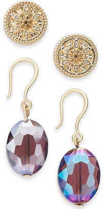 Charter Club Gold-Tone 2-Pc. Set Coin Stud & Bead Drop Earrings, Created for Macy's