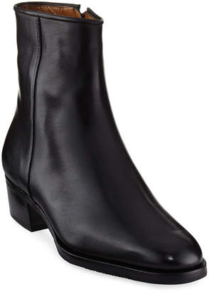 Gravati Low-Heel Leather Zip Ankle Boot