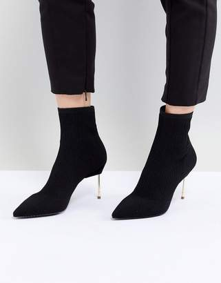 Kurt Geiger London Black Knitted Ankle Boots With Gold Stiletto Heel