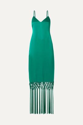Rachel Zoe Chantelle Macramé-trimmed Satin Maxi Dress - Jade