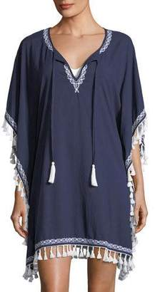Tommy Bahama Split-Neck Cotton Tunic Coverup with Embroidery