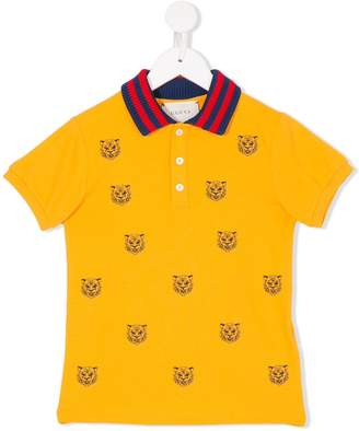 Gucci Kids tiger embroidered polo shirt
