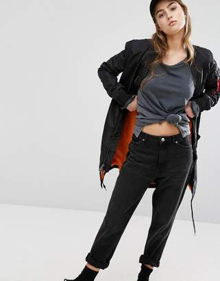 Alpha Industries MA-1 TT Longline Bomber Jacket with Contrast Lining $203 thestylecure.com
