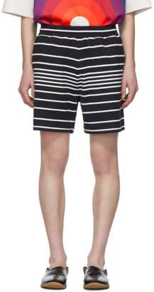 Dries Van Noten Navy and White Stripe Hobba Shorts