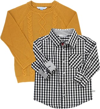 RuggedButts Cable Knit Sweater & Gingham Shirt Set