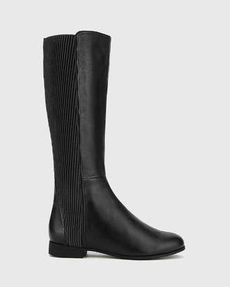 Drue Leather Stretch Knit Gusset Long Boots