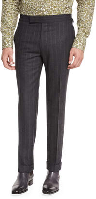 Tom Ford Flannel Stripe Trousers, Gray