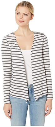 Mod-o-doc Long Sleeve Cardigan with Twist Back in Two-Color Stripe