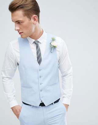 Moss Bros Wedding Skinny Waistcoat In Light Blue