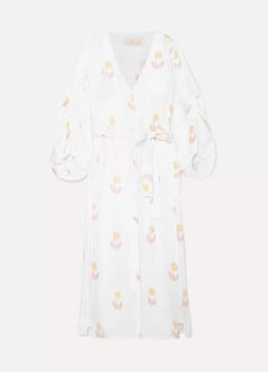 Hannah Artwear Jasmine Floral-print Linen Midi Dress