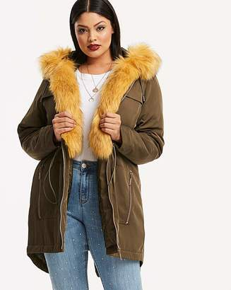 Fashion World Khaki Parka With Detachable Faux Fur