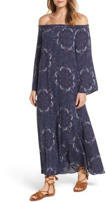 Women's Hinge Print Off The Shoulder Maxi Dress $79 thestylecure.com