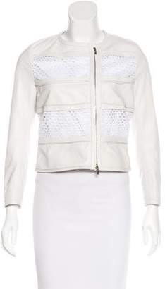 Blumarine Lace-Trimmed Leather Jacket