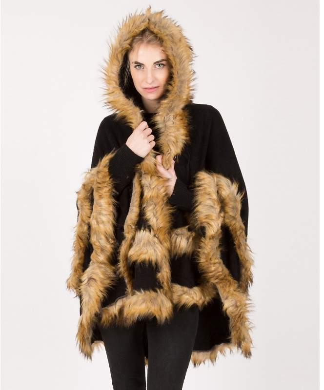 Urban Mist - Black Knitted Two Layer Hooded Faux Fur Poncho