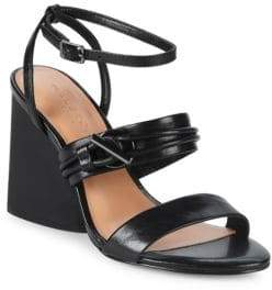 Halston Sola Leather Ankle Strap Sandals