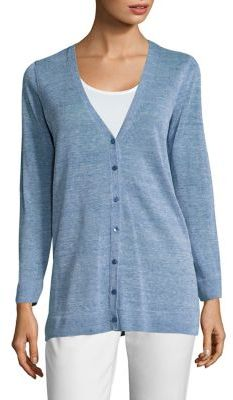 Eileen Fisher Paint Linen V-Neck Cardigan $268 thestylecure.com