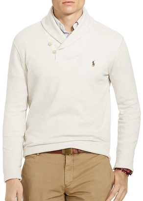 Polo Ralph Lauren Ribbed Cotton Shawl Collar Sweater $115 thestylecure.com