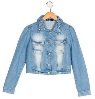 Miss Blumarine Girls' Embellished Denim Jacket