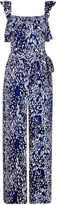 Dorothy Perkins Womens **Tall Blue Leopard Print Frill Jumpsuit