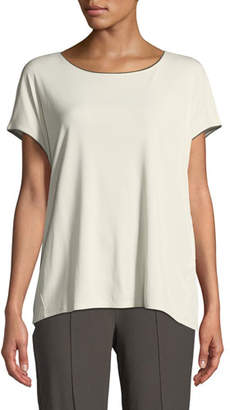 Eileen Fisher Stretch-Silk Jersey Top with Piping