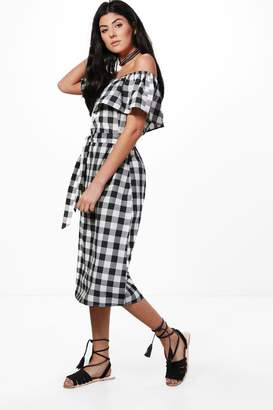 boohoo Marcie Off Shoulder Gingham Midi Dress $40 thestylecure.com
