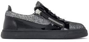 Giuseppe Zanotti London Smooth Glittered And Patent-Leather Sneakers